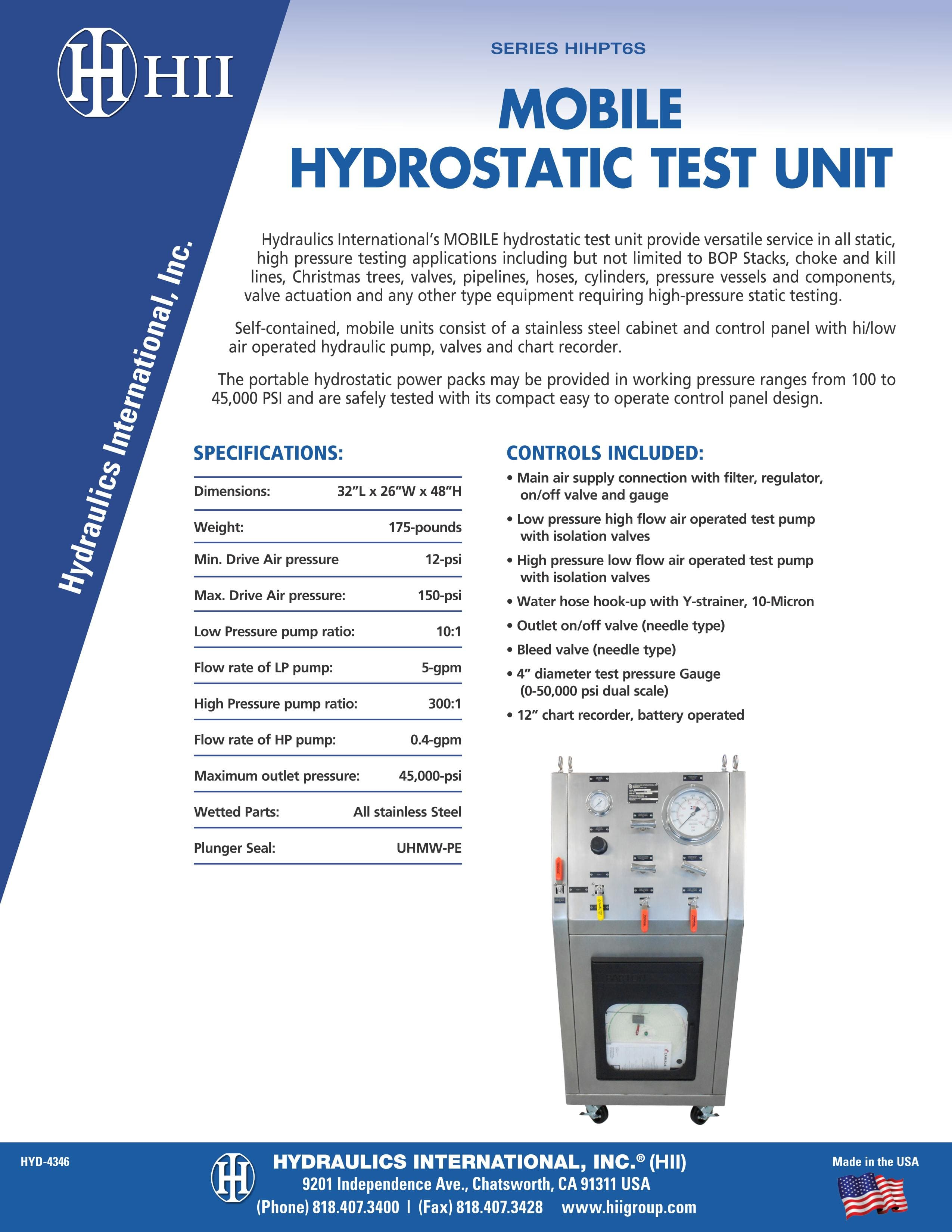 Mobile and stationary hydrostatic test unit series HIHPT6S