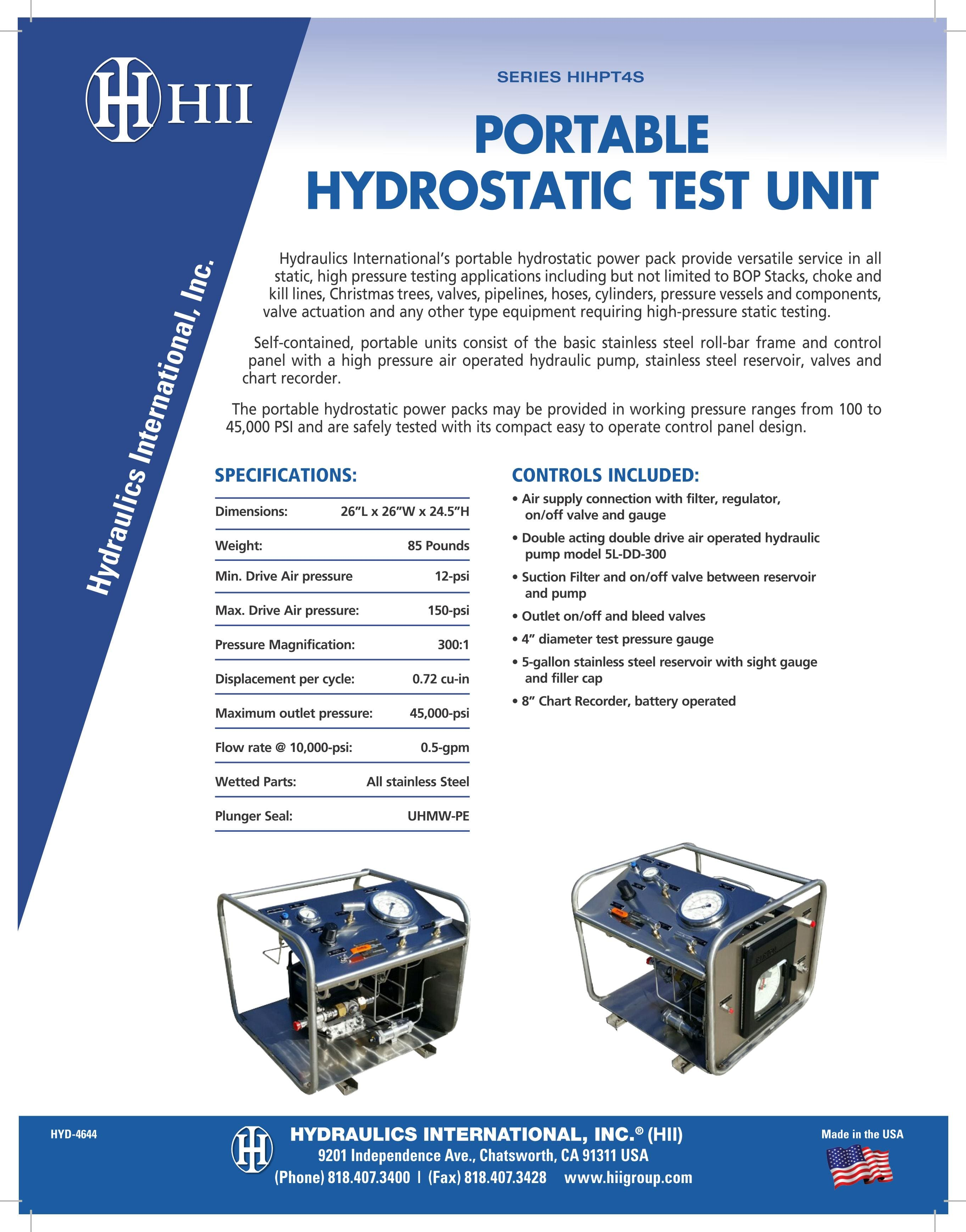 Portable hydrostatic test unit series HIHPT4S