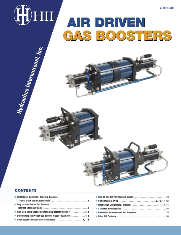 Air driven high pressure gas boosters HII