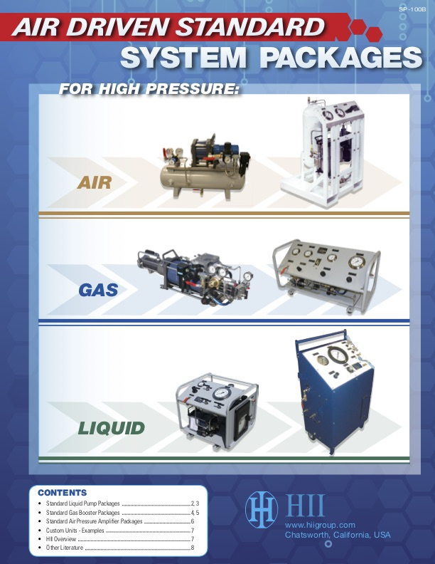 Air driven standard system packages HII for high pressure liquid, gas, air