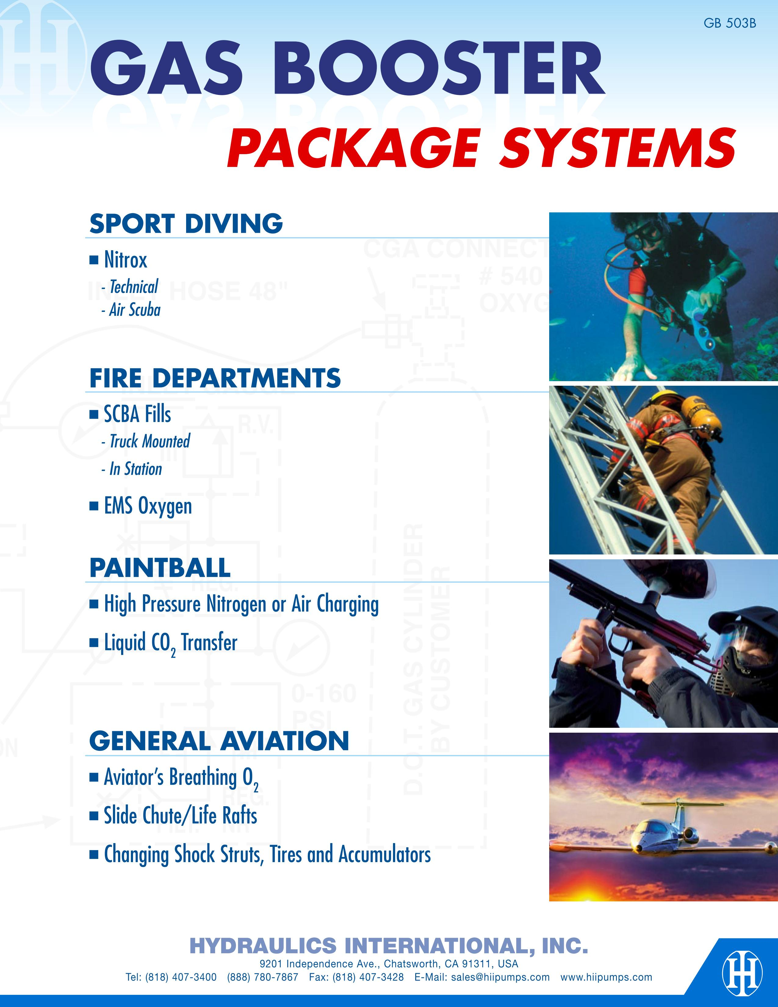 Gas booster package systems for sport diving, fire departments, paintball, general aviation
