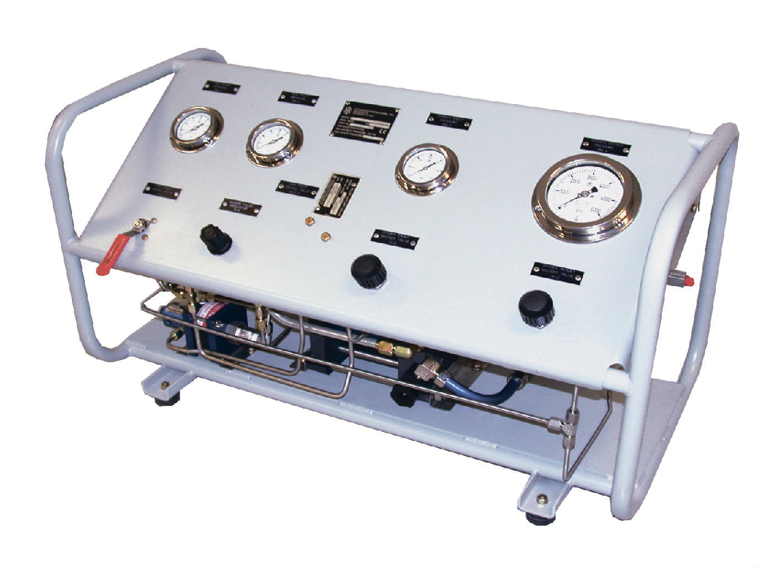 Leak Test Benches: Test benches for leak pressure testing with helium, helium-air mix, helium-nitrogen mix.