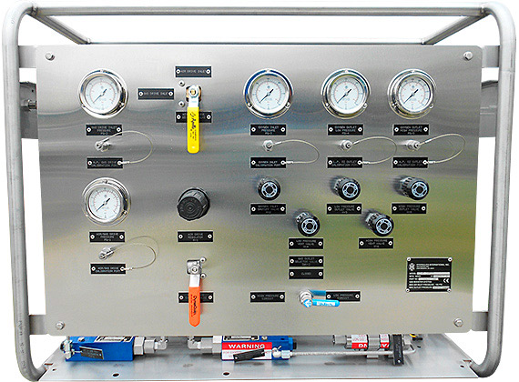 Control panel for hydraulic testing of process pipelines